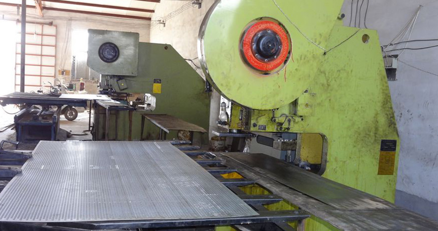 Perforated metal sheet machine production process
