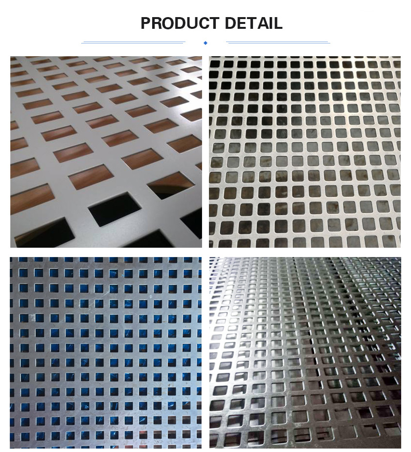 Square hole perforated metal mesh detail