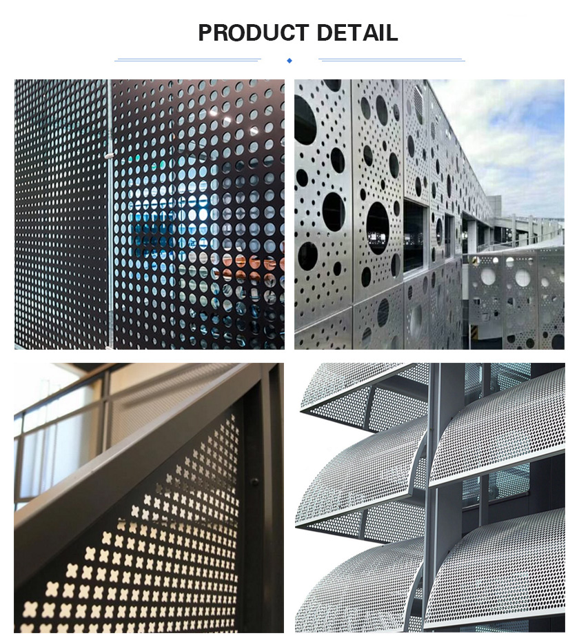 Decorative perforated sheet application detail